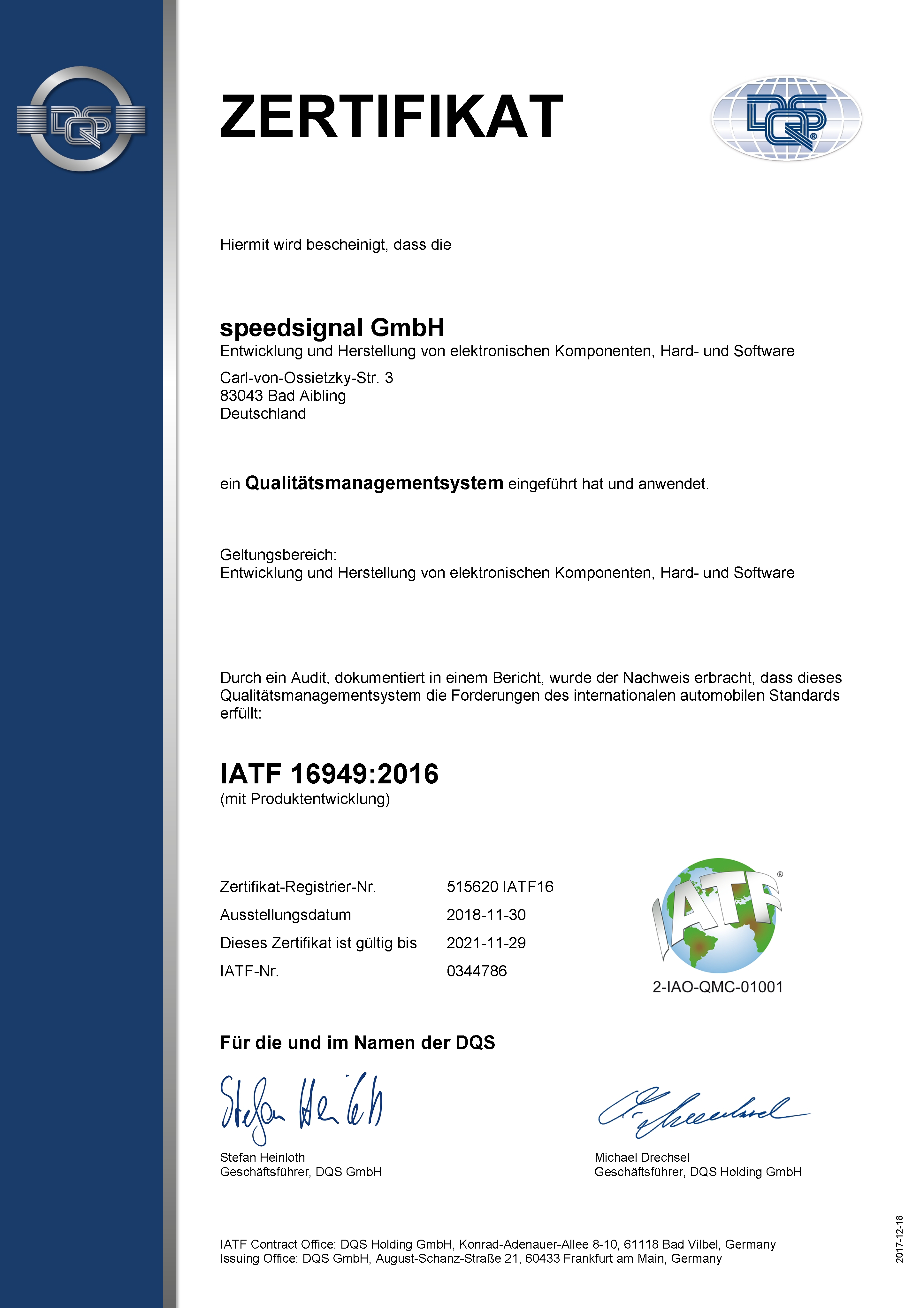 IATF16949 Zertifikat