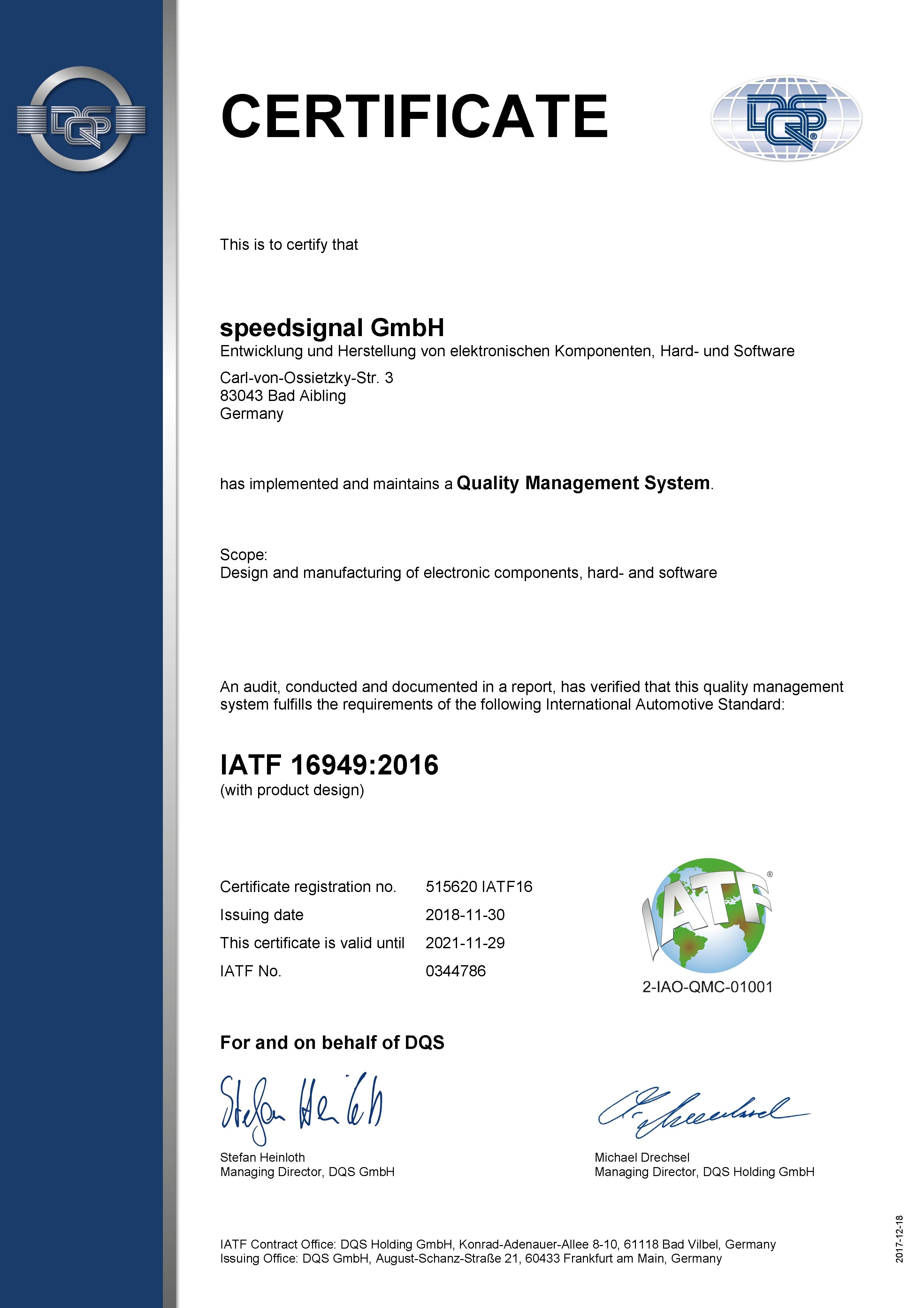 IATF16949 certificate